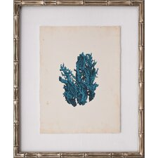 Mini Turquoise Coral V Framed Graphic Art