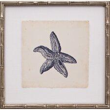 Mini Indigo Starfish II Framed Graphic Art