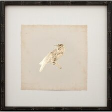 Gold Leaf Bird on Archival Paper Framed Graphic Art