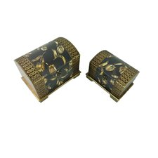 <strong>Keystone Intertrade Inc.</strong> Classic Jewelry Box with Flower Design in Distressed Black and Gold (Set of 2)