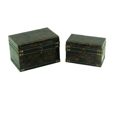 Leather Jewelry Box with Anaconda Design (Set of 2)