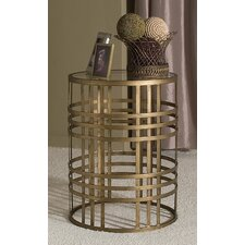 Large Barrel Side Table with Weave & Removable Glass Top