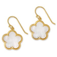 Mother-of-Pearl Flower Gold Vermeil Stud Earrings