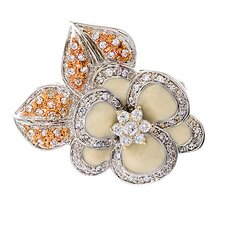 Diamond Platinum Plated off-White Enamel Flower Pin / Pendant