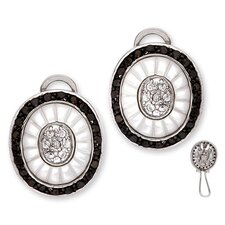 Dramatic Carved Mother of Pearl Black Clear Earrings