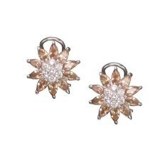 Champagne Flower Rhodium Plated Earrings