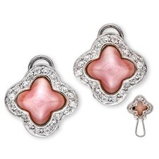 Pink Mother-of-Pearl Inlay Diamond Clover Stud Earrings