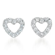 Shimmering Brilliant Pave Puffed Plated Heart Stud Earrings