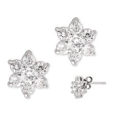 <strong>Rozzato</strong> Round Simulated Diamond Silver Flower Stud Earrings