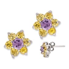 Silver Round Canary Amethyst Center Flower Stud Earrings