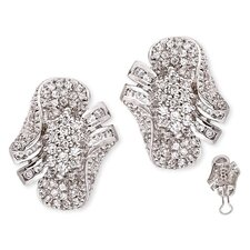 <strong>Rozzato</strong> Pavé-Set Diamond Sterling Silver Cluster Earrings