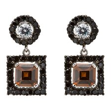 Round Stud Set with Beautiful Square Coffee Drop Earrings