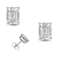 Bridal 6 CT TW Trillion Cut Diamond Rhodium plated Earrings