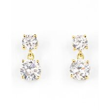 <strong>Rozzato</strong> Double Dangling 14K Yellow Gold Plated Earrings