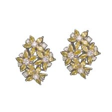 cubic zirconia and Yellow Citrine Rhodium Plated Earrings