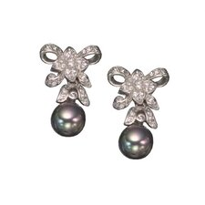 Pearl Post Rhodium Plated Earrings