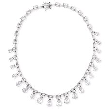 Pear Round Marquise Diamond Dangling Evening Necklace