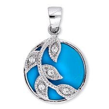 Simulated Turquoise Sterling Silver Branch Circle Leaves Pendant