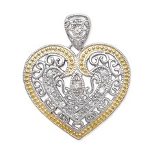 Sterling Silver Vintage Filigree Designer with Yellow Outline Rhodium Heart Pendant
