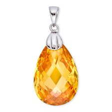 Simulated Yellow Citrine Briolette Sterling Silver Pendant