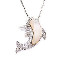 Dolphin Diamond Mother-of-Pearl Silver Pendant Slide