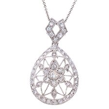 Diamond Platinum Plated Lacy Flower Pendant