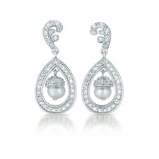 Cubic Zirconia Pearl Dangling Earrings