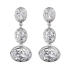 Oval Swirl Cubic Zirconia Bezel Dangle Earrings