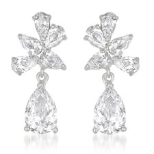 Pear Stone Cubic Zirconia Dangling Earrings