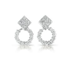 Square Round Cubic Zirconia Earrings