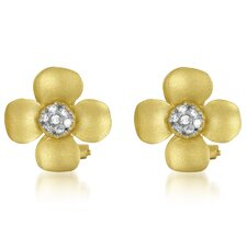 Cubic Zirconia with Projecting Petals Earrings