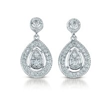 Glamorous Cubic Zirconia Diamond Pear Drop Earrings
