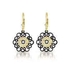 Lace Flower Cubic Zirconia Euro Earrings
