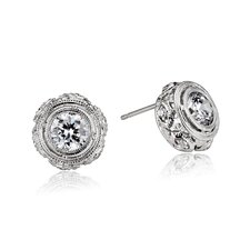 Filigree Cubic Zirconia Earrings