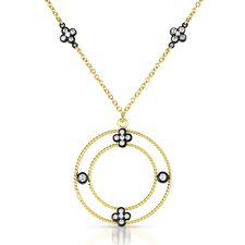 Cubic Zirconia Round Drop Necklace