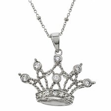 Queen Crown Sterling Silver Cubic Zirconia Pendant Necklace