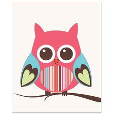 <strong>Secretly Designed</strong> Strip Belly Owl on Tree Art Print