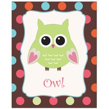<strong>Secretly Designed</strong> Solid Color Owl with Polka Dot Back Ground Art Print
