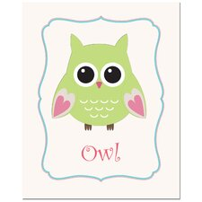 <strong>Secretly Designed</strong> Solid Color Owl in Frame Art Print