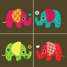 Four Elephants Wall Art Print