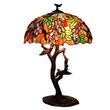 "Grapes / Birds Mosaic 30"" H Table Lamp with Bowl Shade"
