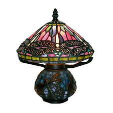 "Dragonfly Mozaic 10"" H Table Lamp with Bowl Shade"