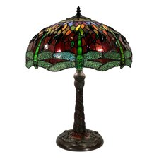 "Dragonfly Mosaic 30"" H Table Lamp with Bowl Shade"
