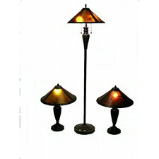 3 Piece Mica Lighting Floor and Table Lamp with Empire Shade Set