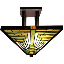 Frank Lloyd Wright 2 Light Semi Flush Mount