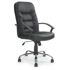 Leder-Chefsessel mit hoher Rückenlehne in schwarz