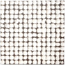 "16-1/2"" x 16-1/2"" Coconut Mosaic Tile in White Patina"