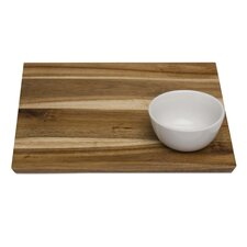 Natural Home Acacia Square Serving Tray with Bowl