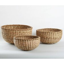 Natural Home 3 Piece Dhama Round Basket Set