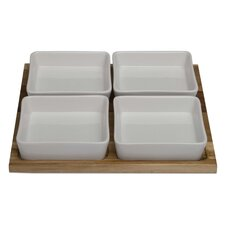 Natural Home Acacia Square Serving Tray with 4 Stoneware Bowls